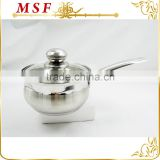 belly shape satin polished stainless steel sauce pan with tube handles and induction bottom