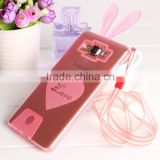 Glitter Cartton Sweetheart Soft Clear TPU with Rabbit Ears Decorative Back Cover Cell Phone Cases for Samsung