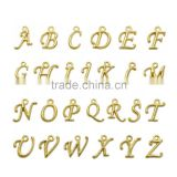 Top Quality Gold Plated ABC Letter Alphabet Pendant Loose Charm Beads A~Z 1Set (26pcs) per Bag For Jewelry Making Findings