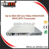 60ch SD h265/hevc video audio encoding transcoding for Cable tv broadcast iptv digital headend streaming live tv channels free