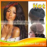 Stock!!! Hot Human Hair Full Lace Wig Color#1B Big Wave Brazilian Virgin Human Hair Lace Front Wigs For African Americans