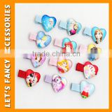PGHD0368 Girls cartoon hair clips frozen wholesale anna elsa hairpins kids princess headwear heart shape