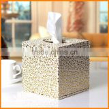 Creative reel spool square tissue box pumping tray pu leather napkin box wholesale custom hand Paper
