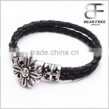 Genuine blackleather braided cross flower bracelet (10mm) Stainless Steel Magnetic Locking Clasp