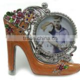 wholesale novelty metal high-heeled shoes best friends photo frames,Decorated with Beautiful flower, Made of Alloy