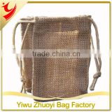 Eco-friendly wholesale hemp burlap jute gift bag with drawstring
