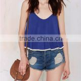 Hot girl fashion double layer spaghetti strap short cami tops one piece camisole SYA15387