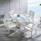2016 New Lifestyle 4piece Rattan Chair with 1piece Square Table Garden Dining Furniture                                                                         Quality Choice