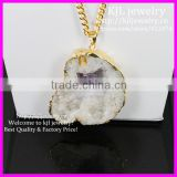 KJL-BD5271 Wholesale Nature Big Size White Druzy Stone Pendant Necklace Drusy Quartz Gold druzy 24k Chain necklace