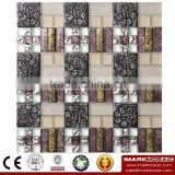 IMARK Gold Foil Mosaic Mix Crystal Glass Mosaic Tile Resin Mosaic Tile For Kitchen/Wall Decoration/Bathroom Tile IXGR8-007