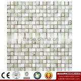IMARK Super White Color Dull Polished Crystal Glass Mosaic Tiles with Painting Glass Mosaic Tiles Code IXGM8-099