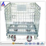 warehouse mobile collapsible storage cage with coaster mesh box wire cage factory supplier