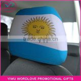 custom polyester&spandex printed elastic Argentina flag car headrest cover,Argentine car headrest flag for fans