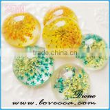 yellow bulk flat round resin flower cabochon for DIY jewelry
