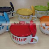 6 Pieces Ceramic Stoneware Soup Bowl Set With Spoon And Cover