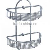 Chrome Curved Two Tier Shower Caddy Basket with Hooks