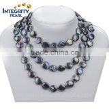 12mm AA grade reborn freshwater pearl peacock colorful black long coin pearl necklace