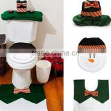 Wholesale snowman toilet seat cover, rug bathroom set, christmas decoration, toilet seat cover + foot pad + water tank cover
