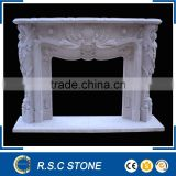 European style hand carving natural stone fireplace mantel
