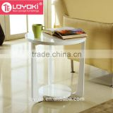 new design wood sofa side table high quality Glossy MDF wood round bed side table coffee table