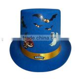Vintage style Halloween Day man fitted custom wool fabric slash bowler top hat for party events on sale made in China