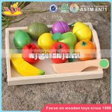 wholesale kids play kitchen toys wooden cutting fruit set funny wooden cutting fruit set for children W10B185