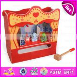 2015 New and popular wooden knock toy,DIY toy wooden table theatre and a hammer story,Role play toy view theatre table W10D102