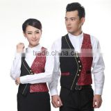 Juqian custom 5 start summer restaurant manager hotel waiter receptionist uniform designs with embroidery vest