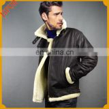 Winter genuine sheep skin fur made leather coat double face sheepskin leather jacket for man