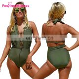 High Quality Sexy High Cut Leg Green Crotchless One Piece Swimsuit Woman