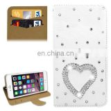 New Design Heart Shape Pattern Pattern Diamond Encrusted Leather Case with Holder and Card Slots for iPhone 6