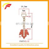 fashion red maple leaf shaped zinc alloy pendant with rhinestone for belt bag and garment