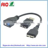 Galaxy S5 I9600 NOTE3 N900 Micro USB OTG data cable USB 3.0 A femle to micro male female plug jack