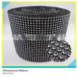 18 Rows/24 Rows/30 Rows Black Base with Silver Crystal Rhinestone Mesh Roll for Garment Accessory