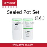 D678 Round Food Plastic Airtight Storage Canister Set & Sealed Pot Set Lager 1.5L Middle 0.8L Small 0.5L