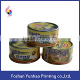 bottle roll shrink label food tag sticker printing for eel braised jar
