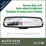 "Car reverse Rear view 4.0"" Mirror Monitor 2 Video Input with compass and temperature display"
