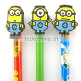 Lovely 3D cartoon pvc pencil topper,plastic pen topper supplier