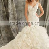 Ruffle Wedding Dress Women Ivory Organza Lace Wedding Mermaid Dress Open Back V-neck Bridal Gowns