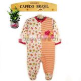 100% cotton girl baby romper clothes with chest embroidery butterfly