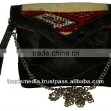 Wholesale handmade Moroccan kilim clutch bags envelope style genuine leather handwoven kilim ref02