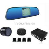 Car reverse parking sensors with rearview mirror and camera