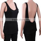 2016 OEM Women Cotton Scoop Neck Deep V Back Short Camisole