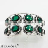 Xmas Gifts Free Shipping New Design Facet Bling Green Topaz Silver Two Pave Band Cuff Bangle