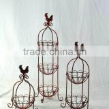Cock design floor basket stand for wire fruit basket