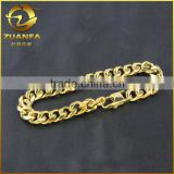"mens width 11mm 9"" stainless steel PVD plating gold cuban bracelet"