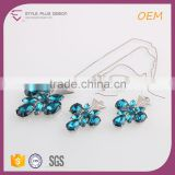 bule crystal stone necklace jewelry set with hanging earring top design for women from mid-night city collection series