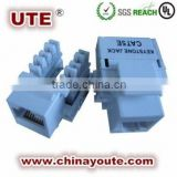90 degree UTP RJ45 krone cat6 modular jack /UTP RJ45 Cat5e Keystone Jack with 90 Degrees Angle and 1,000V AC Voltage
