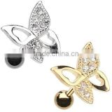 Golden Butterfly Tragus Cartilage Earring CZ Body Jewelry