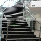 indoor stair stainless steel standoffs frameless glass balustrades with arc concrete stairs